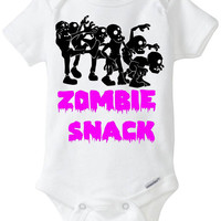 """Zombie Snack Baby Girl Gift: Embellished Gerber Onesie Brand bodysuit - """"Zombie Snack"""" with a group of Zombies - Funny Onesie Preemie Size!"""