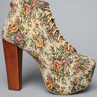 The Lita Shoe in Blue and Red Tapestry