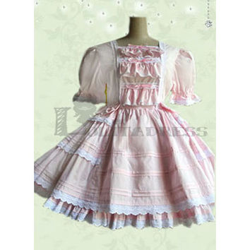Charming Short Sleeves Square Collar Bowknot Multi-Layer Cotton Pink Sweet Lolita Dress [TQL120507129] - £50.59