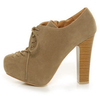 Qupid Theron 03 Taupe Suede Lace-Up Ankle Booties - $41.00