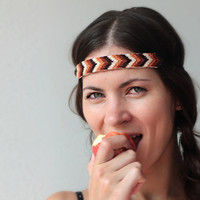 Embroidered headband. Chocolate coffee chevron. Native or tribal. Summer hair fashion.