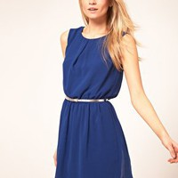 ASOS Skater Dress With Belt at asos.com