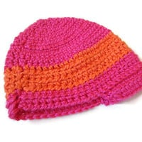 Baby Hat Brim Beanie Pink Orange Stripes