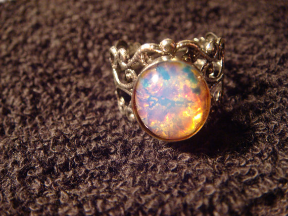 Fire Opal Antique Silver Filigree Ring- Adjustable (470)