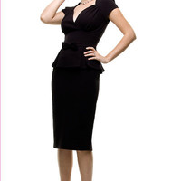 Stop Staring 1940's Style Black Obsession Dress- S to 3X - Unique Vintage - Bridesmaid & Wedding Dresses