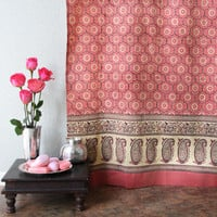Rose Pink Curtain, Floral Curtain, Indian Curtain, Sari Curtain, Luxury Curtain