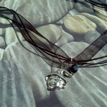 Witch Halloween pendant necklace on 3 strand ribbon necklace wicked witch charm & glass bead teen girl gift idea Trick or Treat