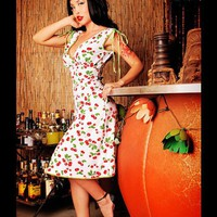 Retro Sun Dress - The Anna Dress in White Cherry Print by Pinup Couture - Dresses - Clothing | Pinup Girl Clothing