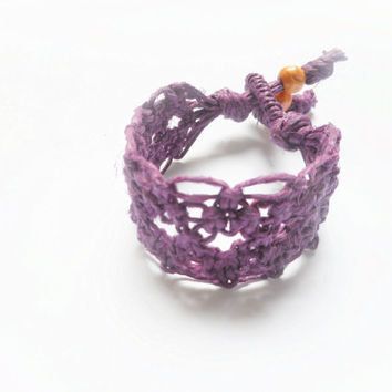 Purple Lacy Hemp Cuff Bracelet, ready to ship.