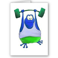 Weightlifting Frog Greeting Card from Zazzle.com