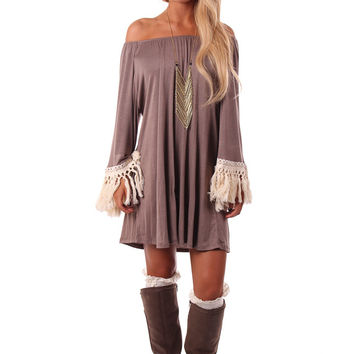 Mocha Off Shoulder Crochet Fringe Trimmed Dress