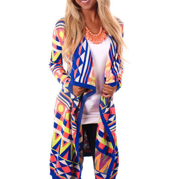 Bright Geometric Print Sweater Cardigan