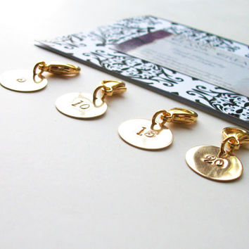 Removable Knit Stitch Markers. Row Marker.  Row Counter.  Set of Four, Round, Brass.