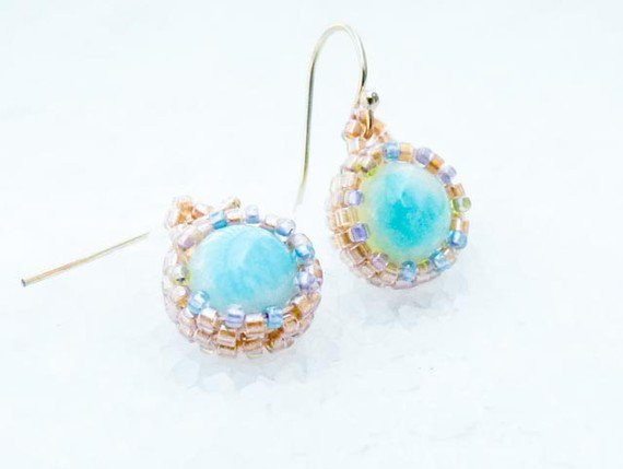 The Breath. Bridesmade dangle seed beads earrings. Turquoise, Rustic wedding,  tbteam