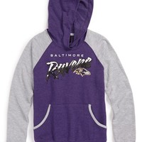 Outerstuff 'Baltimore Ravens - NFL' Raglan Sleeve Graphic Hoodie (Big Girls)