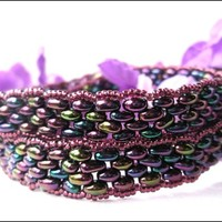 Rainbow Super Duo Amethyst Hand Beaded Bracelet/Choker