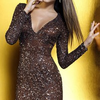 Short Sequin V-Neck Dress with Long Sleeves