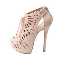 LASER CUT-OUT PEEP TOE LACE-UP BOOTIES