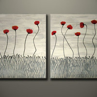 Painting On Sale - Red Poppies Flowers, LARGE Red painting, Fine Art Floral Modern, ready to hang, ORIGINAL One of a Kind