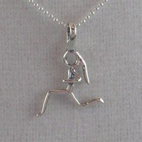 STERLING SILVER I AM A RUNNING GIRL - Sterling Silver pendant on a 16 inch sterling silver ball chain