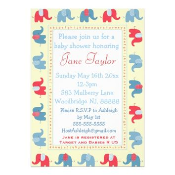 Blue & Red Baby Elephant Baby Shower Invitations