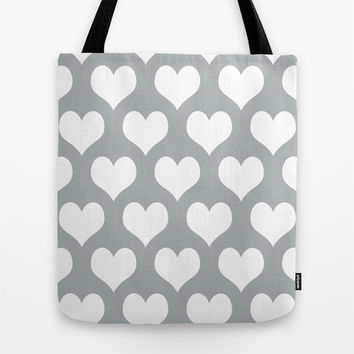 Hearts of Love Grey & White Tote Bag by BeautifulHomes   Society6