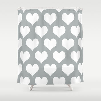 Hearts of Love Grey & White Shower Curtain by BeautifulHomes   Society6