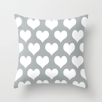 Hearts of Love Grey & White Throw Pillow by BeautifulHomes | Society6