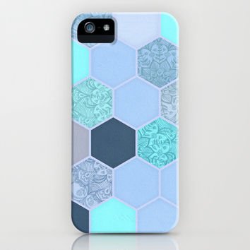 Denim Blue, Aqua & Indigo Hexagon Doodle Pattern iPhone & iPod Case by micklyn