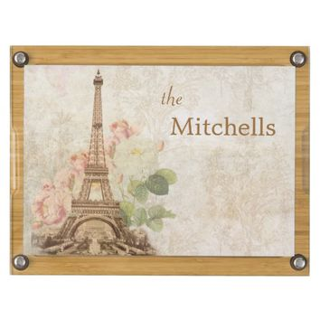 Paris Pink Roses Damask Personalized Cheese Board