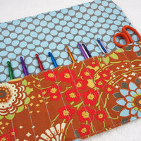 Crochet hook case DPN needle case travel roll-up organizer pencil art supply makeup brush storage Amy Butler floral rust blue, Ready to ship