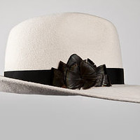 Feather Rosette Felt Trilby Hat