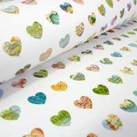 Map Hearts Print Wrapping Paper