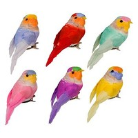 Set Of Six Bird Clip Decorations