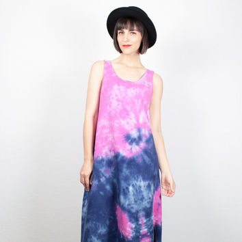 Vintage 90s Dress Pink Purple Tie Dye Dress Midi Dress 1990s Dress Maxi Dress Boho Soft Grunge Dress Hippie Dress Tshirt Sundress L Large XL