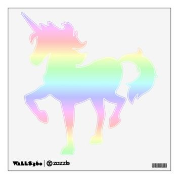 Pastel Rainbow Prancing Unicorn Wall Decal