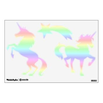 Pastel Rainbow Unicorns and Star Wall Decal