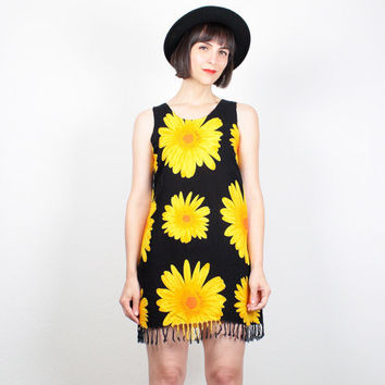 Vintage Sunflower Dress Black Yellow Orange Gold Sundress Fringe Boho Mini Dress 1990s Dress Soft Grunge Dress 90s Dress S Small M Medium
