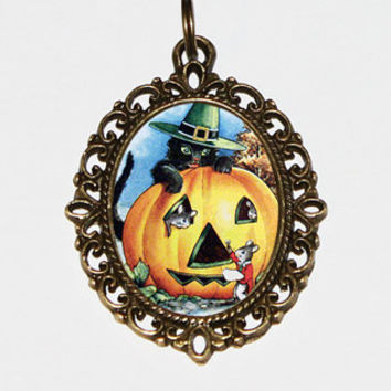 Pumpkin Cat Necklace, Halloween Jewelry, Black Cat, Witch, Horror, Spooky, Oval Pendant
