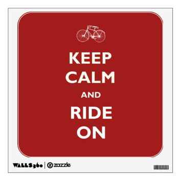 Keep Calm Ride Bicycle Red Wall Decal