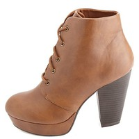 CHUNKY HEEL LACE-UP PLATFORM BOOTIES