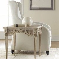Carved End Table in Weathered Solids