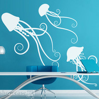 Sea Jellies - Vinyl Wall Art - FREE Shipping - Fun Under Sea Wall Decal - Jelly Fish