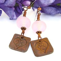 Copper Dog Paw Hearts Handmade Earrings Pink Lampwork Rescue Jewelry
