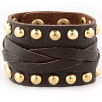 Studded Leather Cuff - Dark Brown Cuff - $28.00
