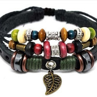 Jewelry bangle leather bracelet punk rock bracelet men bracelet women bracelet  made of leather hemp ropes metal wood beads  SH-1778