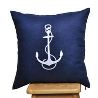 "White Anchor -Throw Pillow Cover-18"" x 18"" -Navy Blue Linen with White Anchor Embroidery"