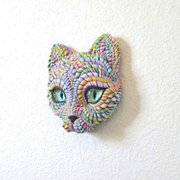 Cosmic Cat Art Wall Mask Sculpture OOAK