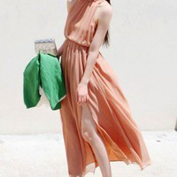 Boho Goddness. Side Splits Backless Orange Chiffon Maxi Dress. Party | GlamUp - Clothing on ArtFire