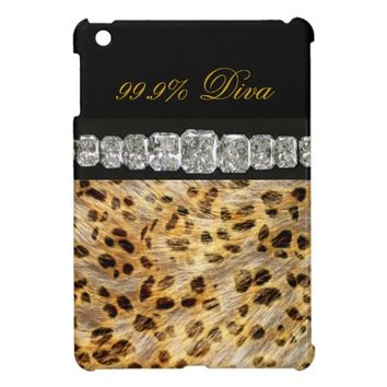 99.9% Diva Leopard Print, Diamonds iPad Mini Case